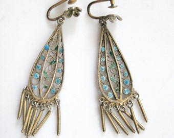 Art Deco Silver Filigree and Enamel European Fringe Screw Back Earrings