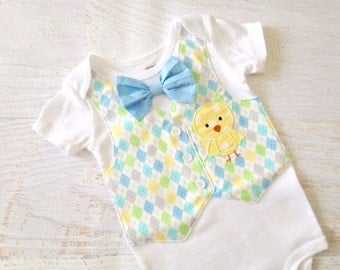 READY TO SHIP Size 12 Months Short Sleeve Argyle Easter Chick Tuxedo Bodysuit Vest with Removable Matching Bow Tie