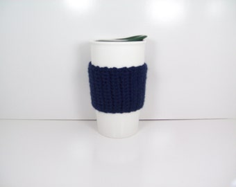 Navy Blue Crochet Coffee Cozie, Hand Crocheted, Handmade Hand Crocheted Cup Cozy, Can Cozy, Beverage Cozy, travel mug sleeve, crochet cozie
