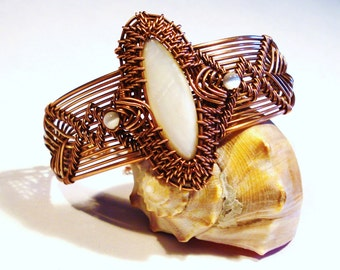 Mother of Pearl and Copper Wire Woven Bracelet, Free US Shipping