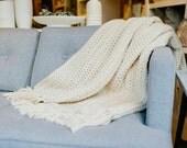 Chunky Knit Wool Throw Blanket. Chunky Afghan. // THE NANTUCKET Throw Blanket - FISHERMAN