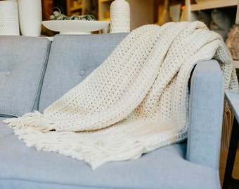 Chunky Knit Wool Throw Blanket Afghan // THE NANTUCKET - FISHERMAN