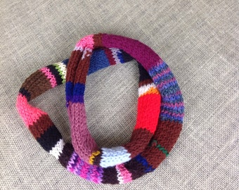 Brightly striped skinny infinity scarf