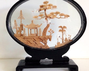 Asian Chinese Cork Sculpture Shadow Box Diorama Black Lacquer Looking Glass