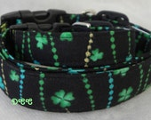 READY To SHIP Dog Collar Black Green Shamrock Gold Glitter  Green  Turquoise Dots and Swirls St Patricks Adjustable Dog Collar with D Ring