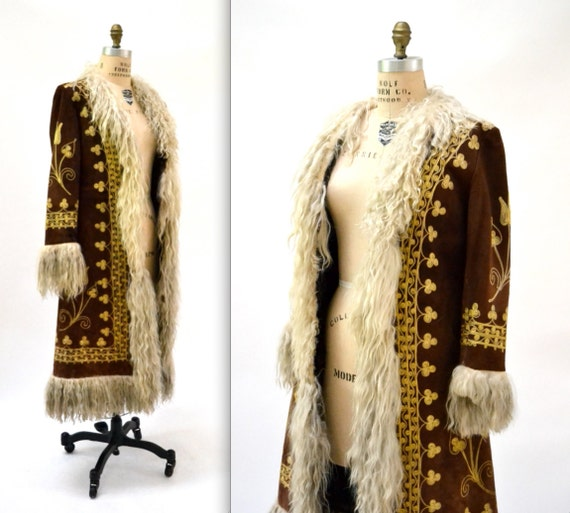 Vintage Embroidered Shearling Afghan Jacket Coat Small 70s