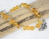 Citrine Ball Yellow Golden Honey Gemstone Bracelet with Sterling Silver Bee Pendant