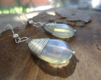 MOONSTONE DROP earrings with wire wrapping (756)