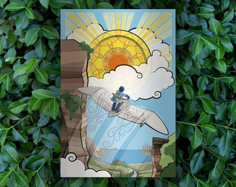 Child of Light // Nausicaa of the Valley of the Wind Alternate Movie Poster // Studio Ghibli Stained-glass, Glider and Sunset Illustration