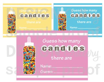 Baby Shower Game - Guess how many candies there are - Comes in 3 colors: Pink, Blue and Yellow - DIY Printable Instant Download