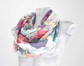 Infinity Scarf Blue Flowers Scarf Flower scarf Scarf Loop Scarf Circle Scarf Soft Scarf