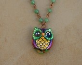 GORGEOUS! Hand Painted Owl Pendant with Rosary-Style Beaded Necklace by Artist Kerry C. jewelry art