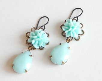 Mint Green Flower Earrings