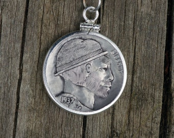 """Hand Engraved Hobo Nickel """"Man In A Hat"""" Necklace"""