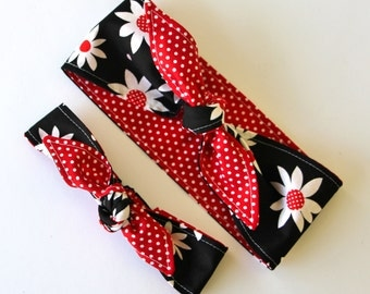 Rockabilly Mommy and Me Matching Black Large Flowers on Red and White Polka Dots Headscarf Women Baby Headband Hair Accessory