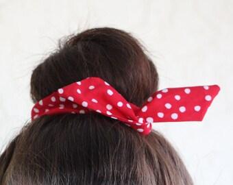 "Wire Bun Wrap, Top Knot Wire Wrap Red Polka Dots  ""Mini"" Dolly Bow Wire Headband Ponytail Hair tie Hair Bun Tie Wrap"