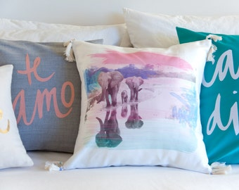 SALE Elephant Family Pillow, Pink, Teal, and Periwinkle - 16x16 inches