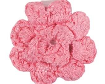 Light Pink Crochet Clip Flower