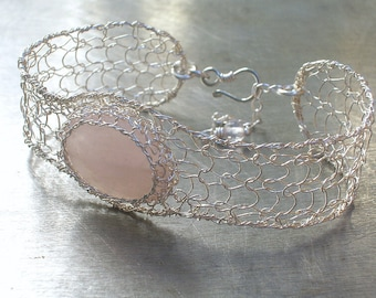 Rose Quartz Bracelet, Sterling and Fine Silver Wire, Knitted and Crocheted Gemstone Bracelet Cuff, Bridal Jewelry, Delicate Jewelry