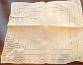 "Vintage Monogrammed ""E"" Drawn Work Tan Handkerchief Hanky- bridal handkerchief, E monogrammed hanky, hanky,drawn work hanky, applique hanky"