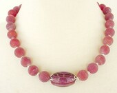 Red Statement Necklace, Marsala Red Gemstone Necklace, Chunky Necklace, Semiprecious Agate Necklace, Artisan Necklace, Wine Red Necklace