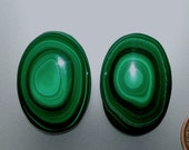 Malachite Banded Eyes High Dome100% Natural Hand Cut Matching Cabochons from 49erMinerals Stock# A1008, free U.S. shipping