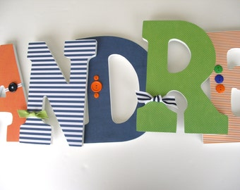 Wooden Wall Letter Set - Navy Blue, Green and Orange - Hanging Wood Letters for Nursery - Boy Bedroom