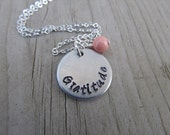 "Gratitude Inspiration Necklace- ""Gratitude"" with an accent bead in your choice of colors- Hand-Stamped Jewelry"