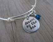 """Ocean/Sea Inspiration Bracelet- Hand-Stamped """"dream by the sea"""" Bracelet with an accent bead in your choice of colors"""