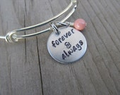 "Inspirational Bracelet- ""forever & always"" with an accent bead of your choice- Adjustable Hand-Stamped Bangle Bracelet by Jenn Koutecky"