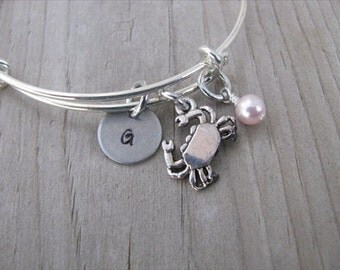 Beach Bangle Bracelet- Adjustable Bangle Bracelet with Hand-Stamped Initial, Crab Charm, and accent bead