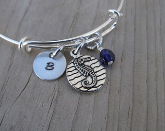 Seahorse Bangle Bracelet- Adjustable Bangle Bracelet with Hand-Stamped Initial, Seahorse Charm, and accent bead of choice- Personalized Gift