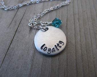 "Loyalty Inspiration Necklace- ""loyalty"" with an accent bead in your choice of colors- Hand-Stamped Jewelry by Jenn's Handmade Jewelry"