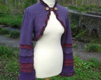 Elegant elven shrug from recycled sweaters by SpiralGypsy Size L - Ready To Ship
