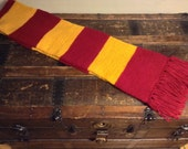 SALE! Harry Potter Inspired Scarf Double Knit Reversible 6ft Cranberry & Gold with Fringe, High Quality Warm Scarf