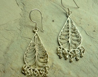 Long Chandelier Earrings, filigree silver earrings, tear drop filigree earrings, dangle earrings, statement earrings, bollywood earrings
