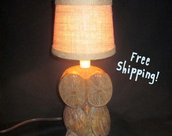 Vintage Wooden Owl Accent Lamp Night Light - Home Decor