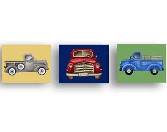Children Truck art, vintage truck artwork, boys car trucs nursery art, vintage pickup truck art, boy nursery art
