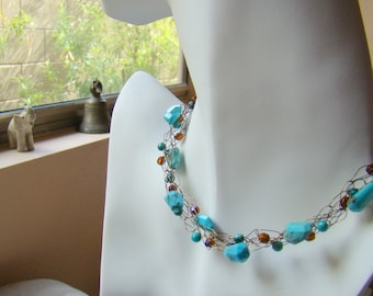 Natural Turquoise Stone Crochet Wire Necklace  Turquoise Nuggets Beaded Necklace  Turquoise and Copper Crochet Wire Jewelry - CR0045