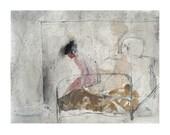 Woman Bedroom original painting nude figurative people