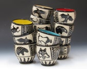 Cup, Offering bowl, Tea Bowl, Native American Sgraffito stoneware, wine cup, SPECIAL ORDER ALLOW 4-6 weeks