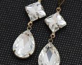 Crystal Earrings Long Rhinestone Earrings Antique Brass Pear Diamond Bridesmaids Earrings Bridal Earrings Available as Clip On Earrings