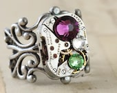 Mothers Ring Unique Ring Statement Ring Steampunk Ring Custom Made Birthstone Ring Watch Ring Silver Ring Swarovski Crystal Personalized