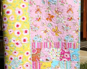 SALE LAST ONE Butterfly Quilt Tumbler Baby Girl Tiddlywinks Dena Designs Tea Flowers Pink Aqua Blue Yellow Crib Bedding Nursery Baby Blanket