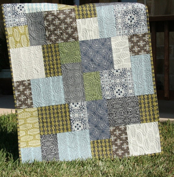 Unusual Quilting Ideas : Unique Baby Boy Quilt Curious Nature Earth by SunnysideDesigns2