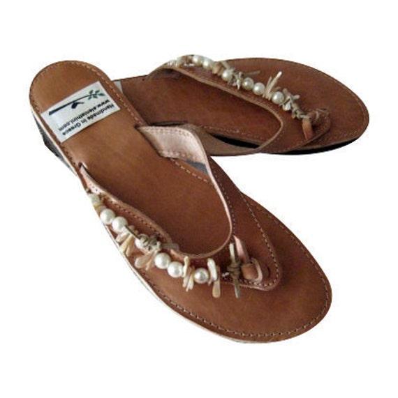 White pearls sandals, wedding slides, greek leather shoes leather slides bridal shoes