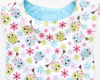 Toddler Girl Owl and Flowers Blue Flannel and Minky Bib