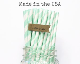 Mint Green Paper Straws, 50 Mint Striped Paper Straws, Pastel Green, Made in USA, Rustic Wedding, Retro Drinking Straws, Vintage Baby Shower