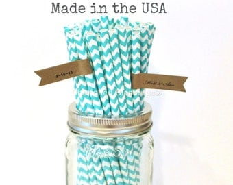 Aqua Paper Straws, 50 Aqua Chevron Straws Rustic Wedding Vintage Baby Shower Paper Goods Princess Party Supplies Made in USA Cake Pop Sticks