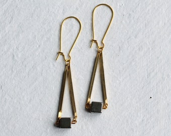 Fool's Gold Earrings ...  Gold Nugget Pyrite Gems with Antique Gold